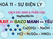 Cách xác định và phân biệt axit mạnh, axit yếu, bazơ mạnh,...